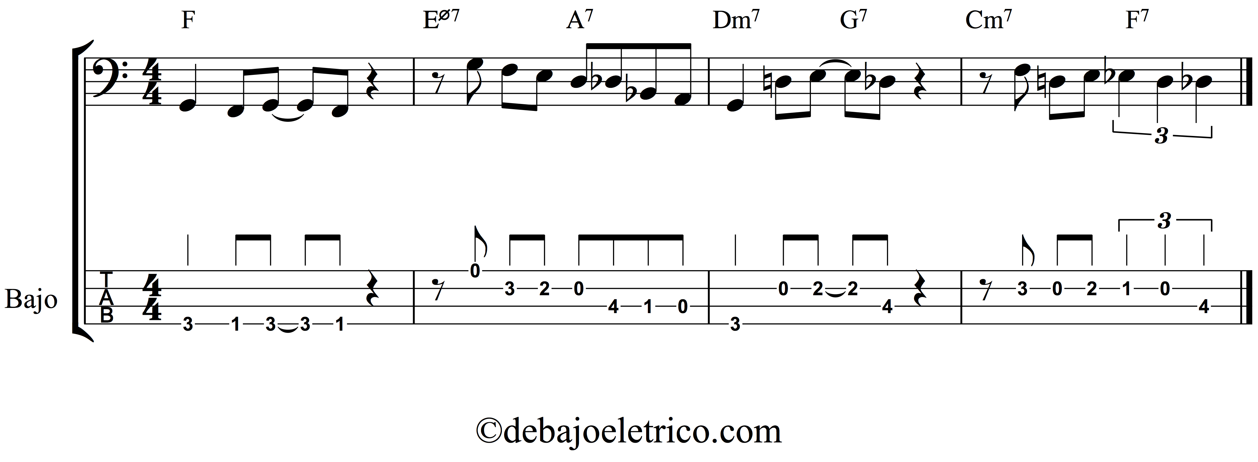 example of a bass tab