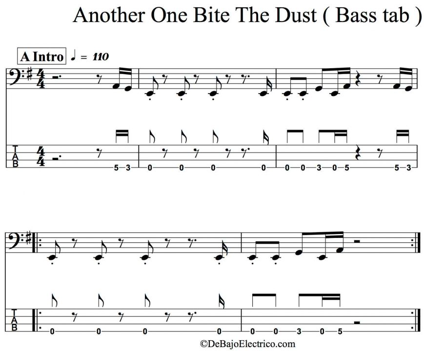 another one bites intro bass tab