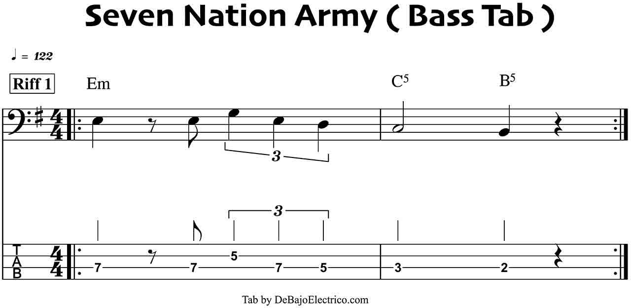 seven nation army bass tablatura