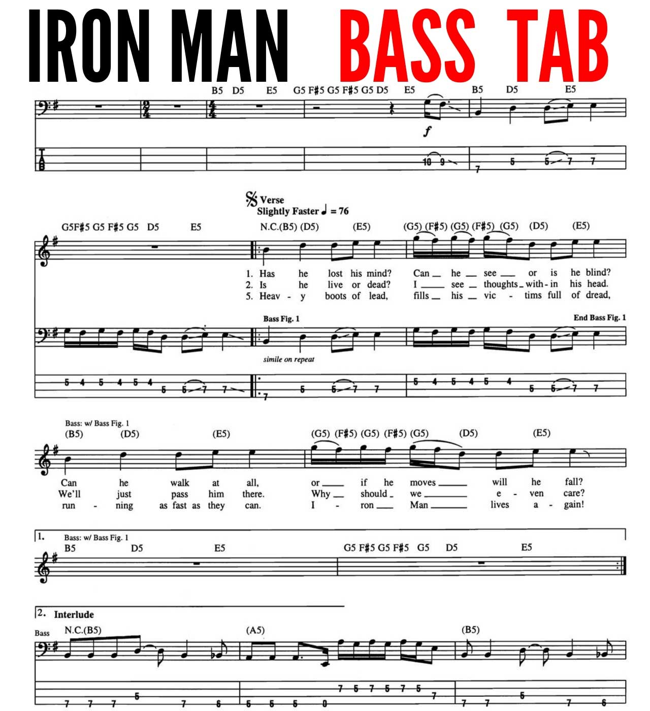 iron man black sabbath bass tabs